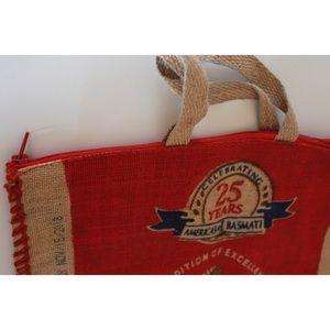 Vintage Bags - Vintage Repurposed Burlap Basmati Tote Bag